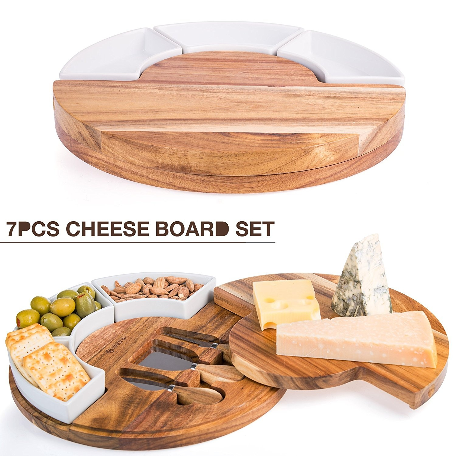Cheese Board Set Charcuterie Board With Cutlery Knife Set Wood Cheese Serving Platter With 3 Knife Set Plus 3 Ceramic Bowl Perfect Meat Wine