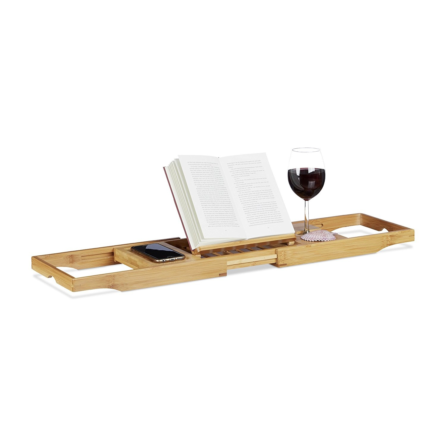 Relaxdays Extendable Bathtub Caddy, Bamboo Bath Tray with Bookstand ...