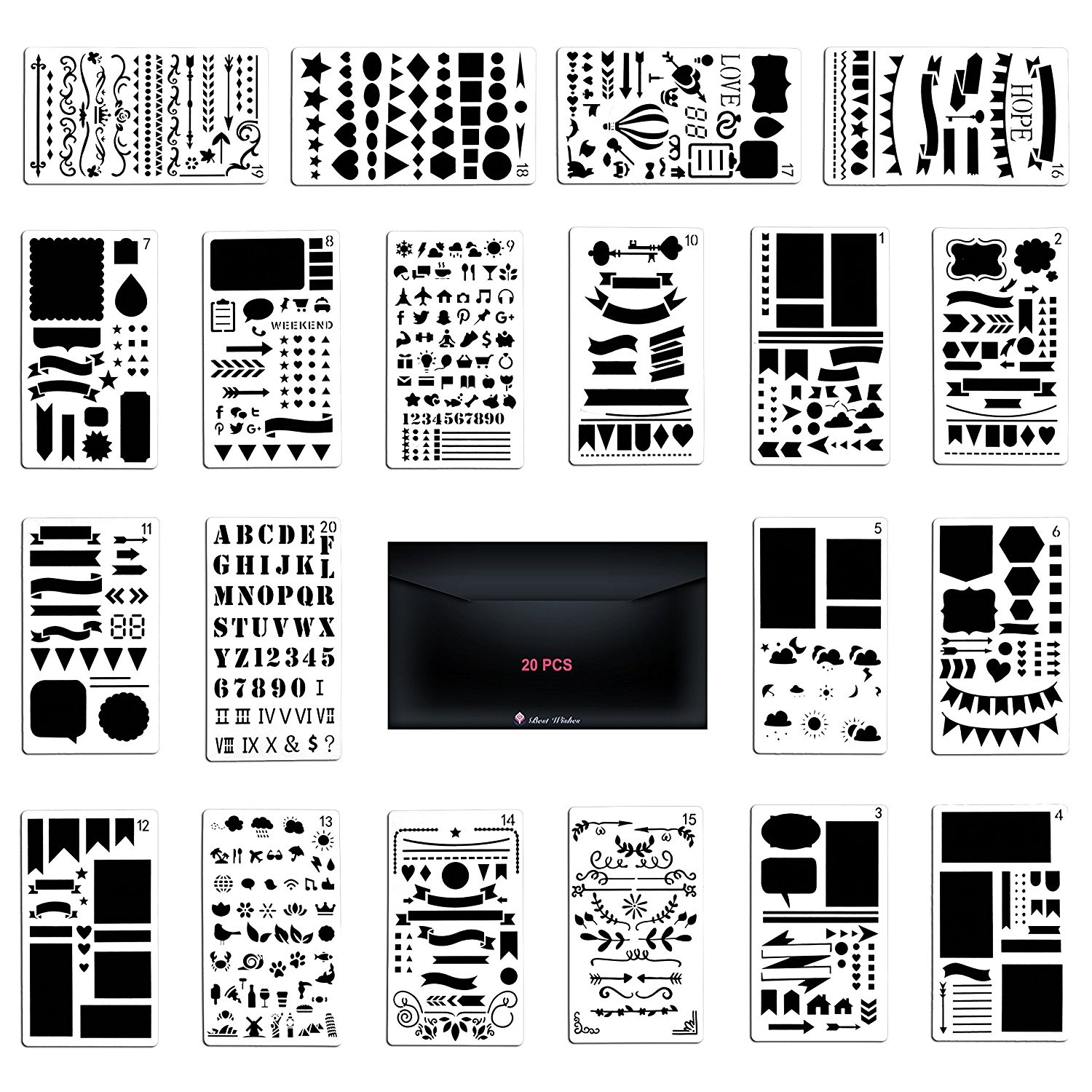 2x Drawing Template Pattern Templates for Crafts Scrapbooking School Project