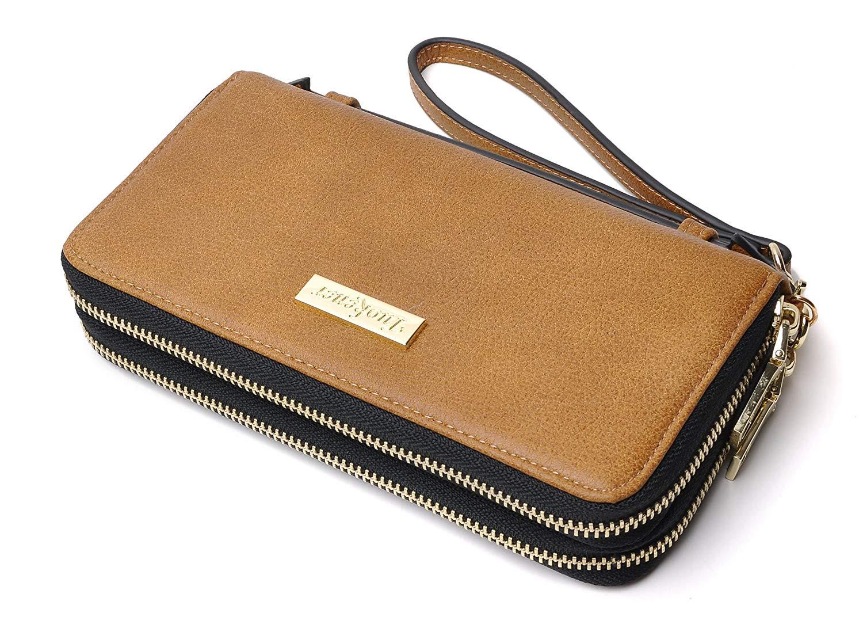 a66b830b9c2c Womens Purse RFID Zip Around Purse Large Capacity Wallet with Wrist Strap