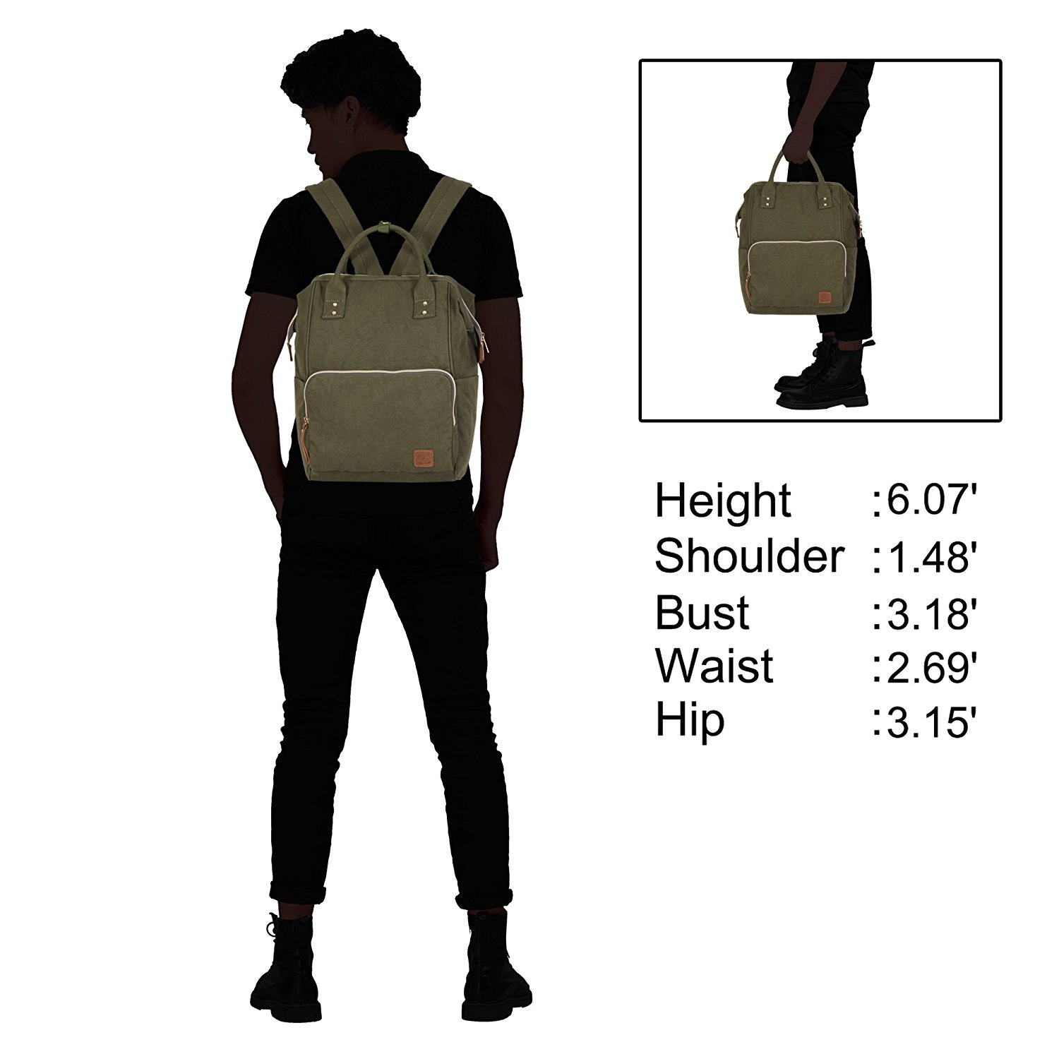 33d824a64bee Veevan Canvas Large Capacity Travel Backpack Casual Daypack School Bags for  Women Men Fits 40cm Laptop Army Green