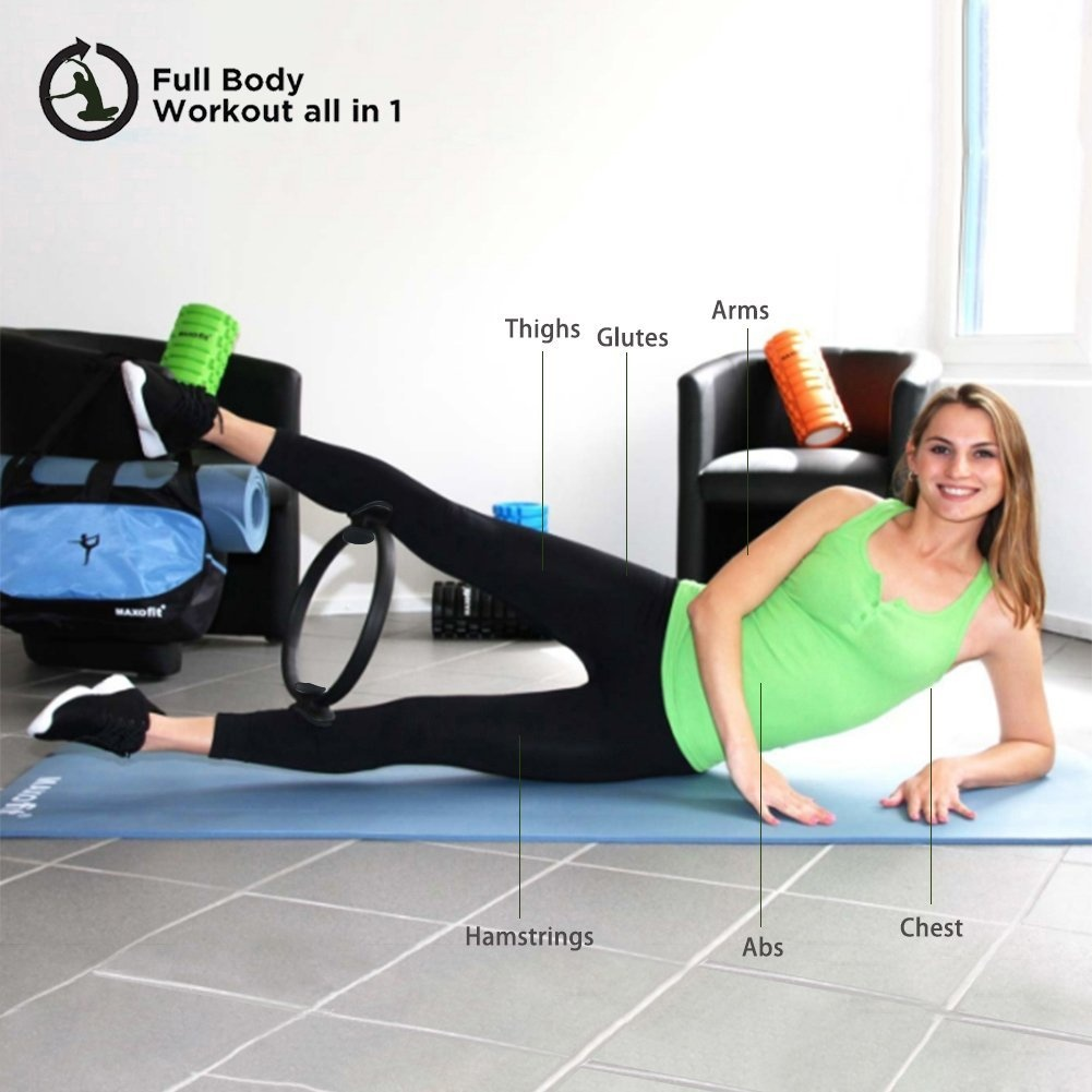 Seryo Pilates Ring Exercise Yoga Magic Circle Premium Flexibility Power Resistance Professional Toning Dual Grip Fitness for Full Body Building