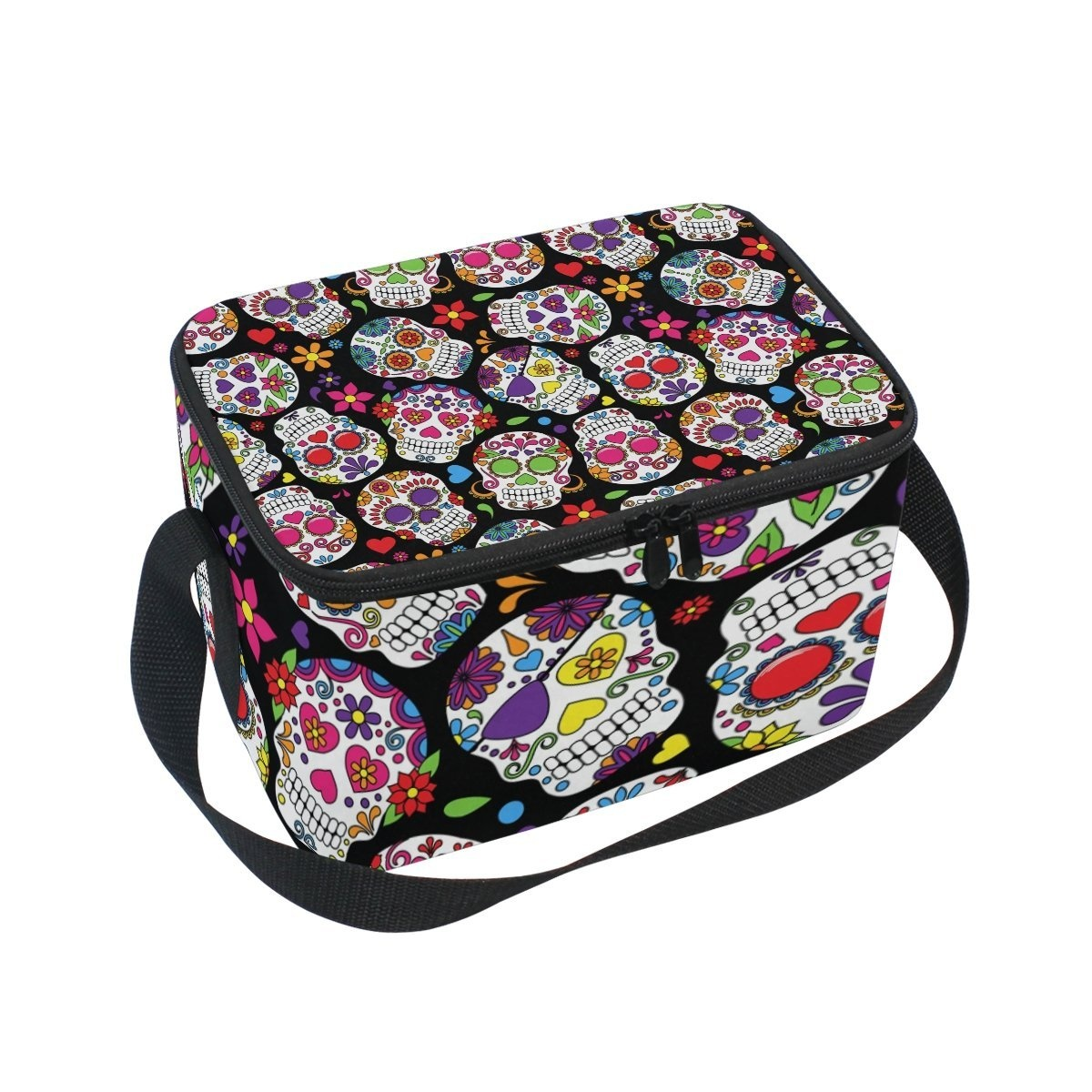 3f7f4cedb914 COOSUN Day Of The Dead Sugar Skull Insulated Lunch Box Bag Cooler Reusable  Tote Bag with Adjustable Shoulder Strap for Women Men