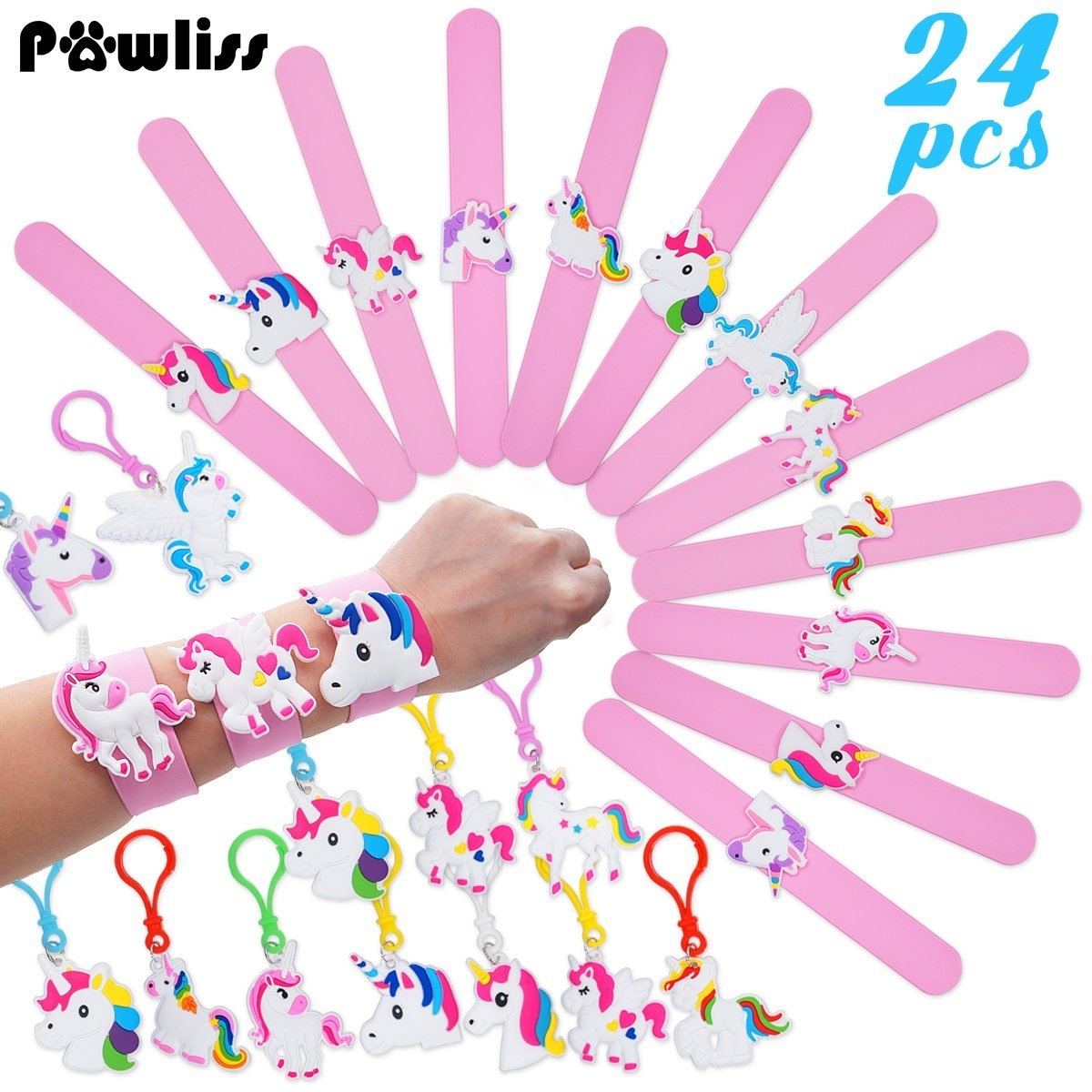 Pawliss 24 Pack Unicorn Slap Bracelets Wristband Backpack Clips Emoji Birthday Party Favours Supplies For Kids Girls Rubber Band Keychains Classroom Toys