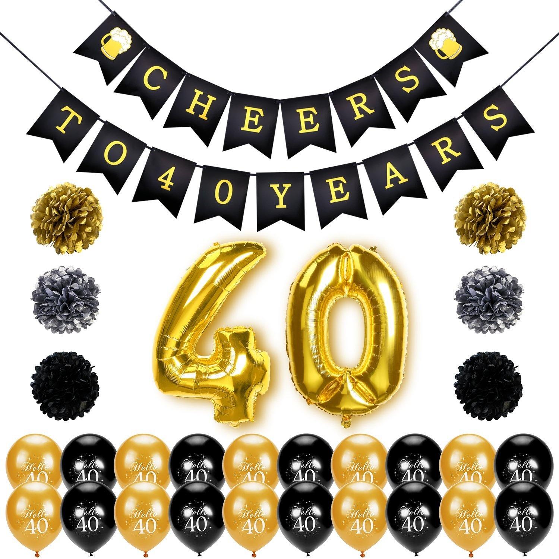 Konsait 40th Birthday Decoration Cheers To 40 Banner