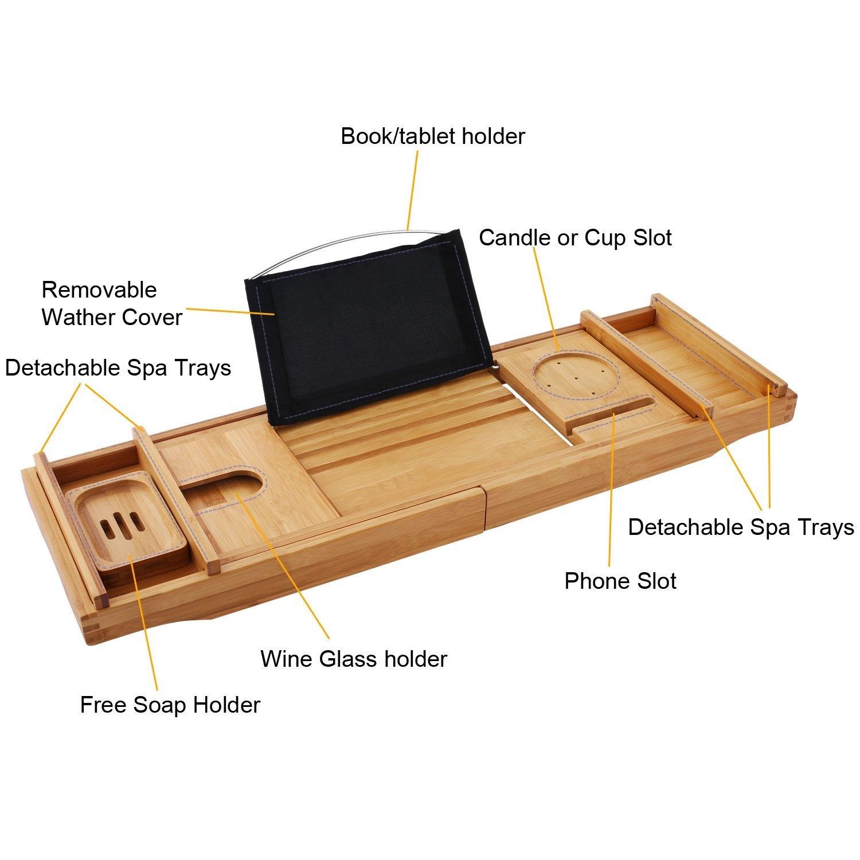 Luxury Dark Walnut Brown Bathtub Caddy, Natural Premium Bamboo Bath ...
