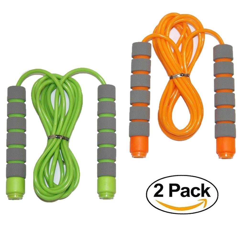 Students and Adults Homello Adjustable Soft Skipping Rope for Kids Children Black,Green,Pink 2.6m 3 Pack