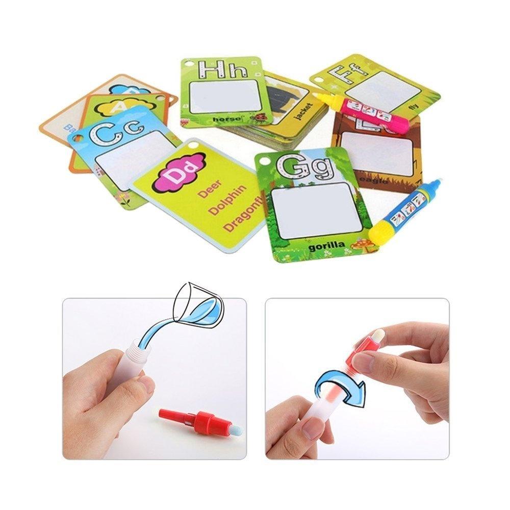 Kuiji Reusable Water Coloring Cards 2 Magic Drawing Pens Graffiti Doodle Bo...