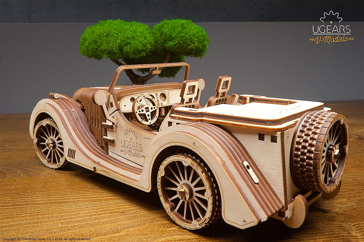 UGears VM-01 Roadster Vehicle – 3D Wooden Art DYI – Fun Projects for Adults  and Children – 3D Mechanical Working Model – Plywood Material with