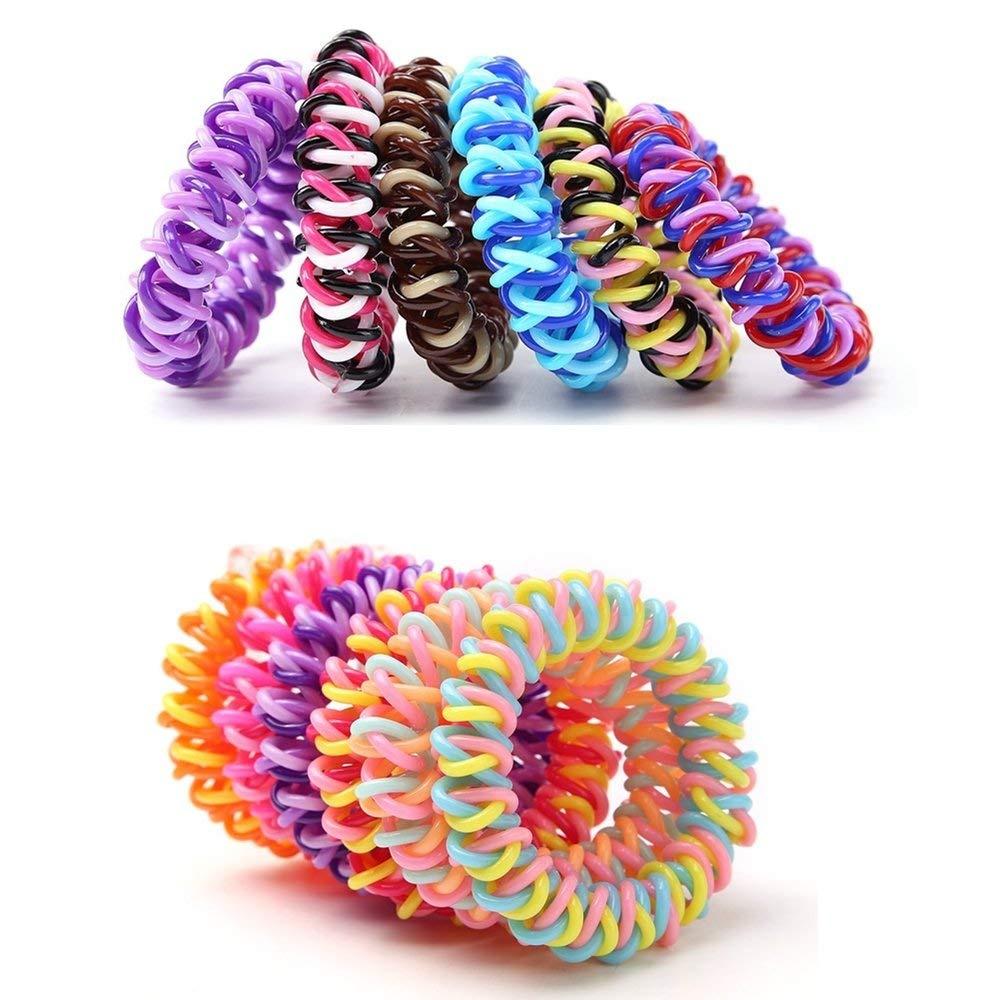 20Pcs Spiral Hair Ties Plastic Elastics Hair Ties No Crease Coil Hair Ties  telephone cord hair ties Ponytail Holder For Women Girls (Multi-Colours) by  ... 63842b37bdb