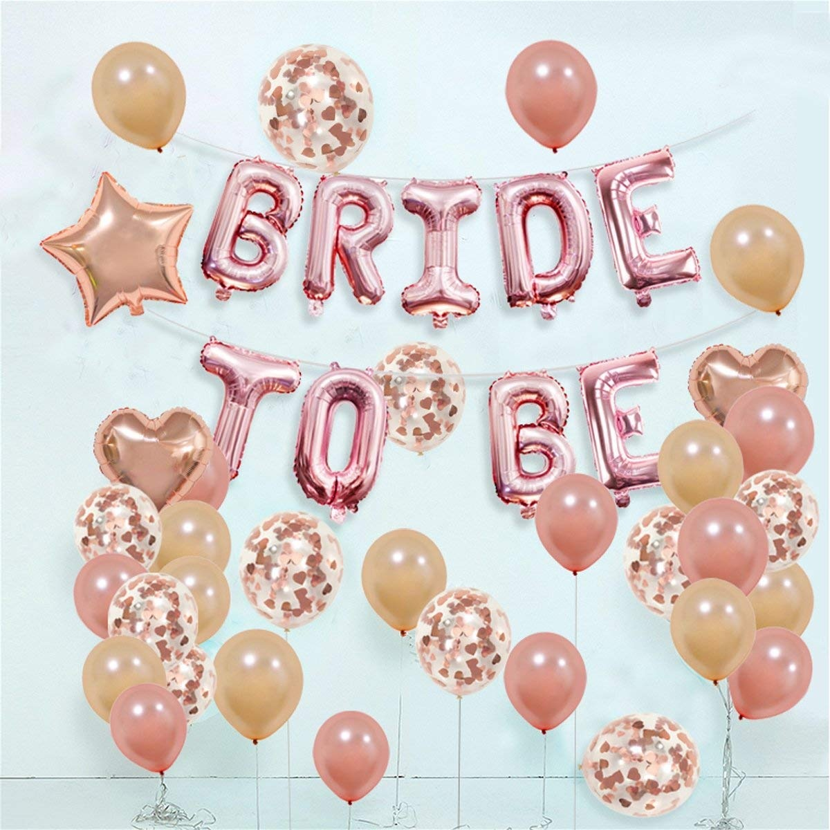 a55c26dc4436 KUMEED BRIDE TO BE Balloons Banner Rose Gold 16- Champagne Rose Gold Latex  Balloons-