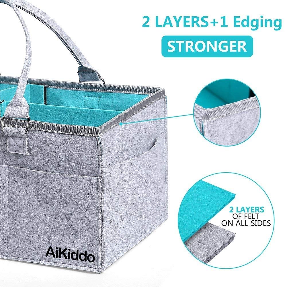 Baby Diaper Caddy| Portable Organizer | Soft Felt, 5 Compartments ...