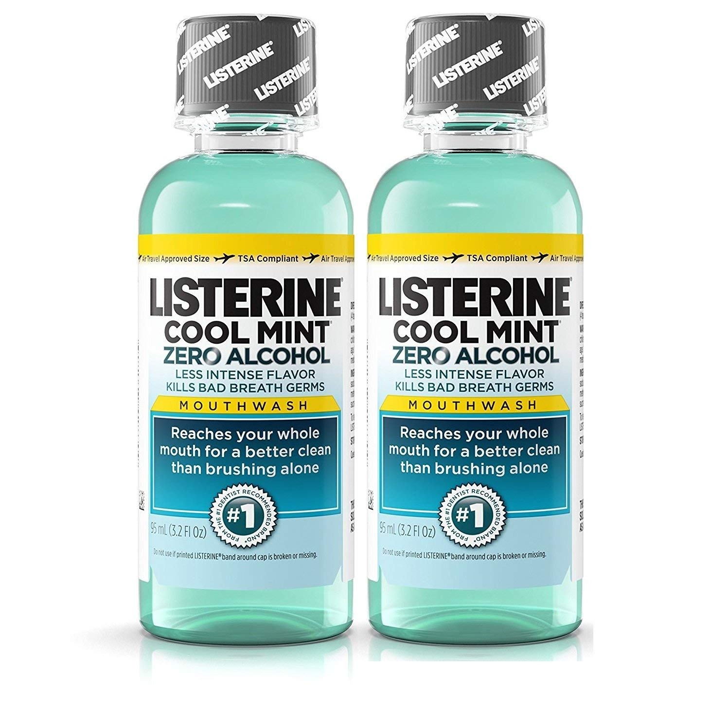a3eacad68ad6 Listerine Cool Mint Zero Alcohol Mouthwash, Travel Size 3.2 Ounces (95ml) -  Pack of 2