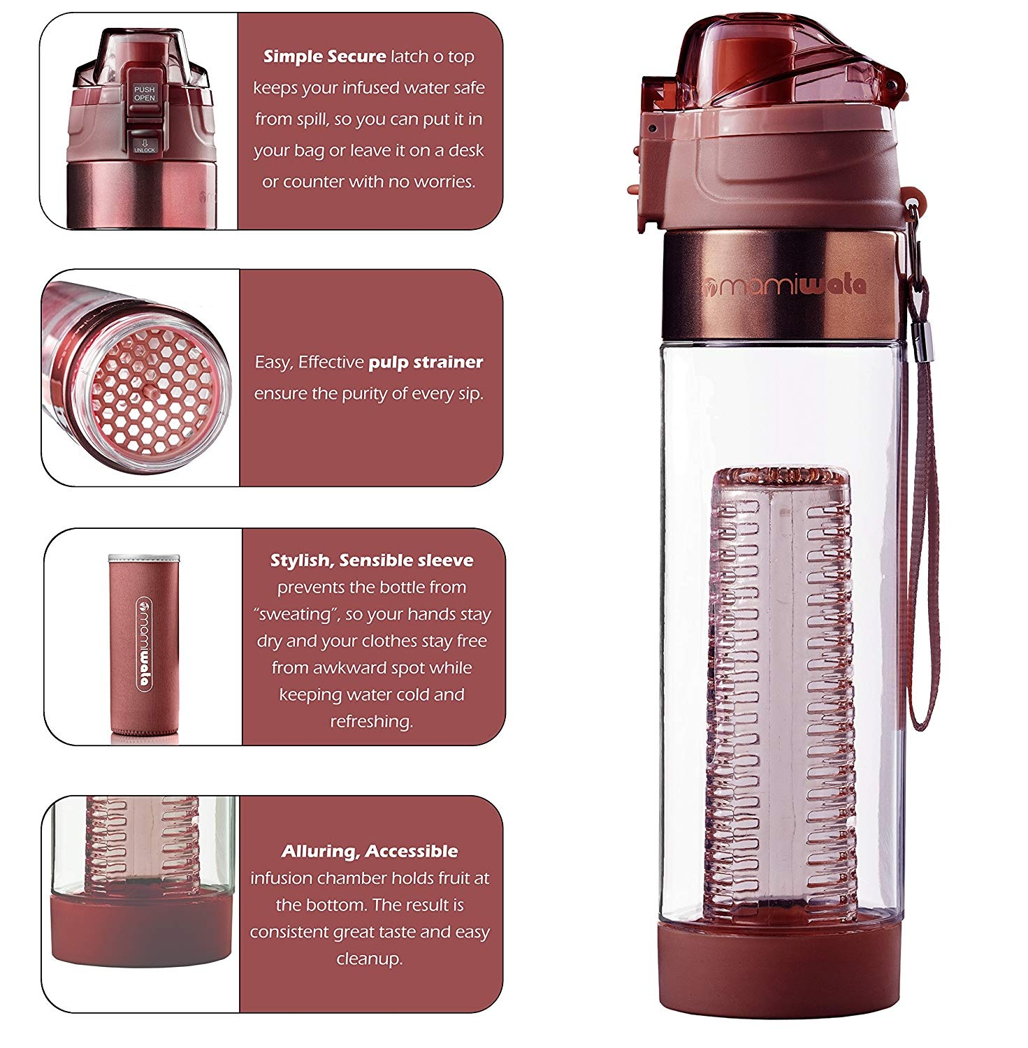 84f85642fd MAMI WATA Fruit Infuser Water Bottle – Beautiful gift box – Unique Stylish  Design - Free fruit infused water recipes eBook and insulating sleeve –  710ml by ...