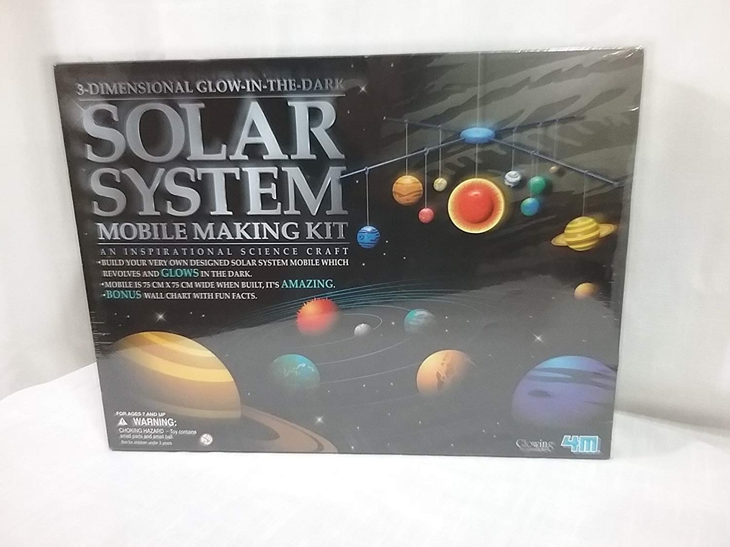 4M 3-DIMENSIONAL GLOW-IN-THE-DARK SOLAR SYSTEM MOBILE MAKING KIT by 4M
