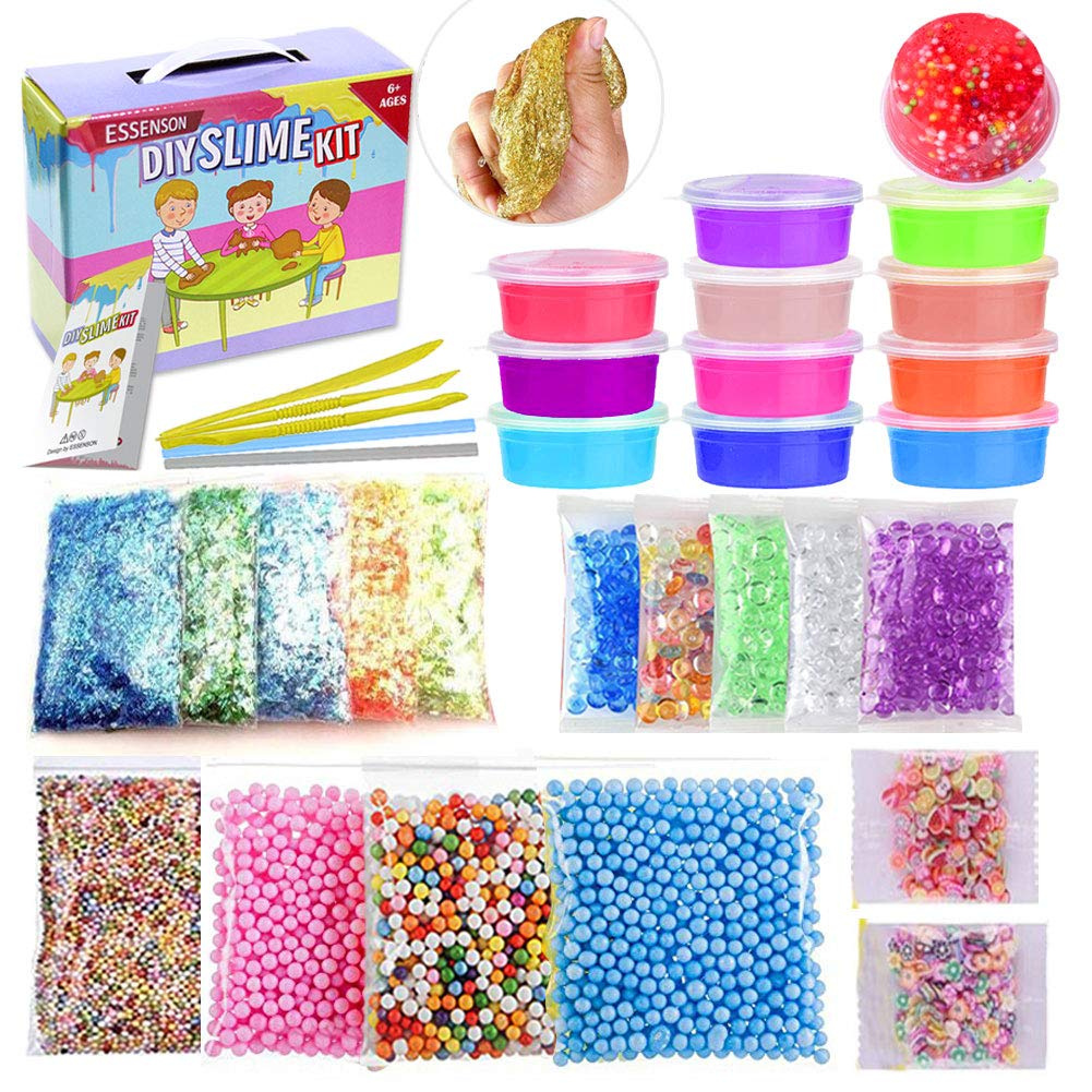 ESSENSON Slime Kit Slime Supplies Make Your Own Slime, Slime Making Kit for  Girls Boys Kids, Includes Clear Crystal Slime, Slime Containers, Foam