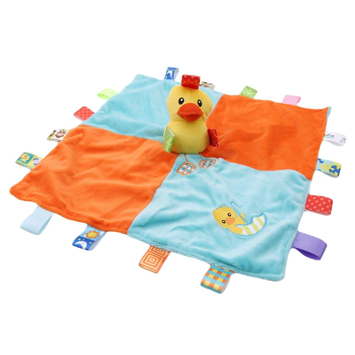 for Baby Girls Boys Best Gifts Plush Toys EJY Baby Tag Taggy Blanket Security Comforter Blankets with Soft Plush Duck