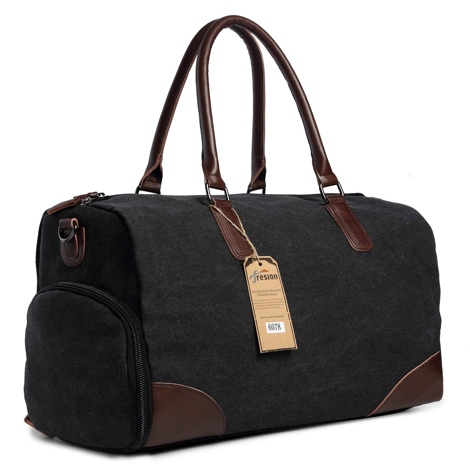 e53d7f35ff5b Travel Flight Bag for Men Women, Leather Canvas Holdall Tote Bags with  Laptop Compartment, Overnight Duffle Shoulder Bag Handbags by Fresion