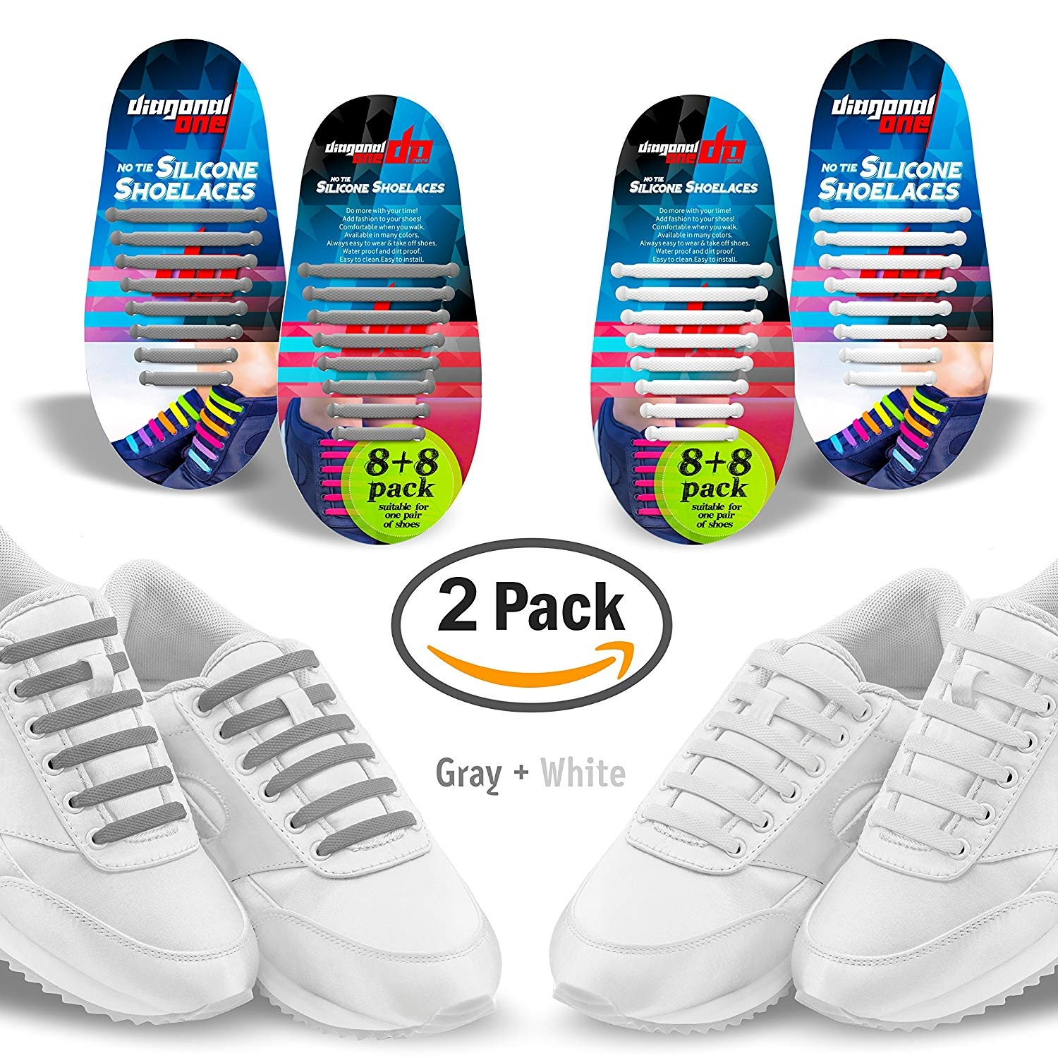 421fcd79f5 Diagonal One No Tie Shoelaces – 2 Pack. Slip On Tieless Elastic ...