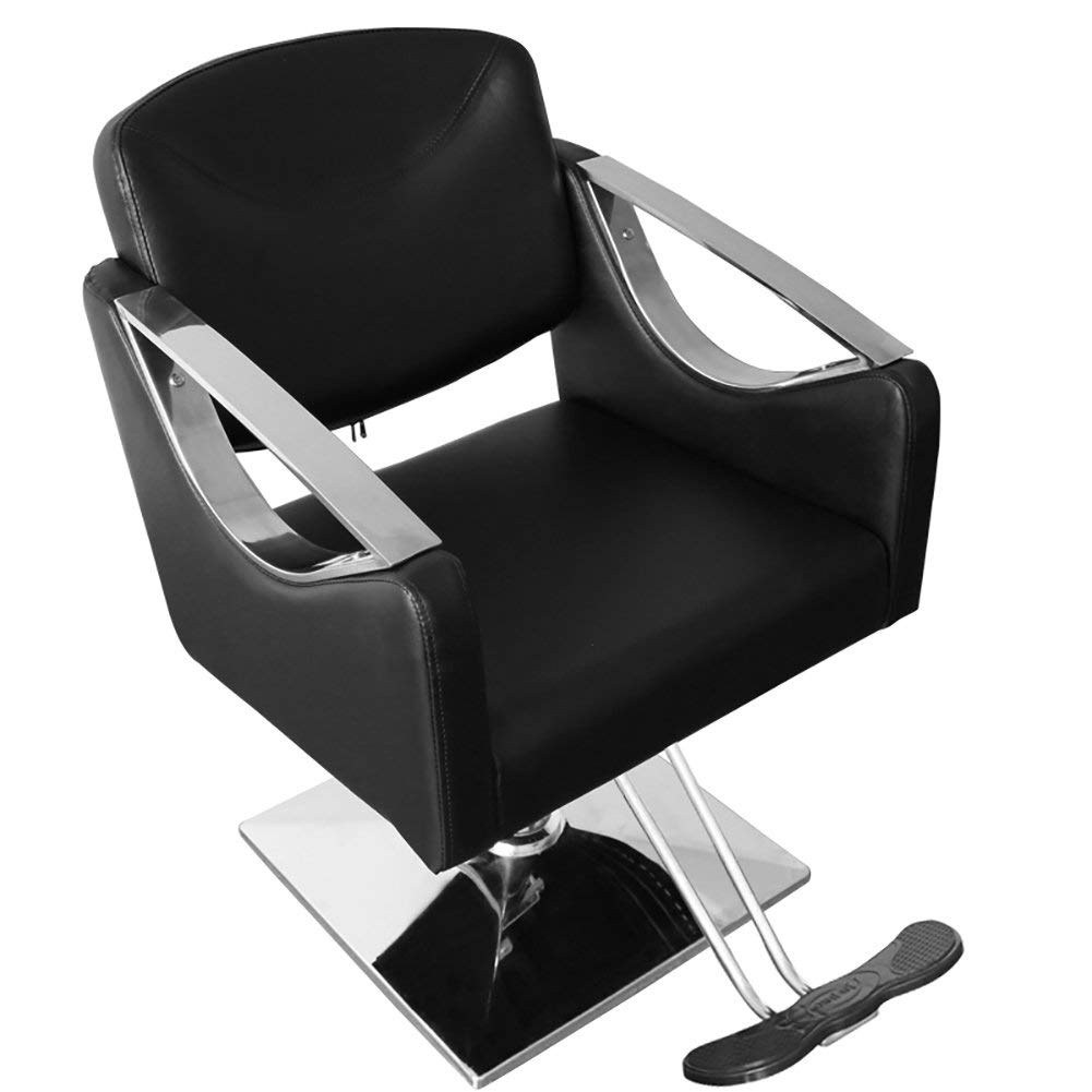 Cool Black Heavy Duty Stylish Hydraulic Barber Chair Beauty Spa Hair Salon Chair With Square Interior Design Ideas Ghosoteloinfo