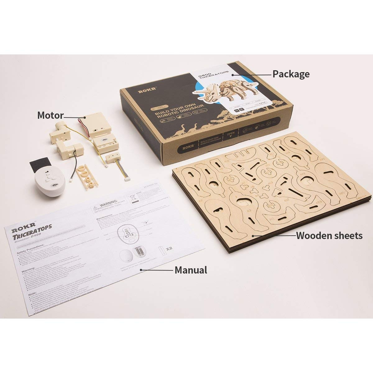 ROKR 3D Wooden Puzzle Build Your Own Robotic Dinosaur Toys for Boys, Kids  and Adults, Remote & Sound & Light Control
