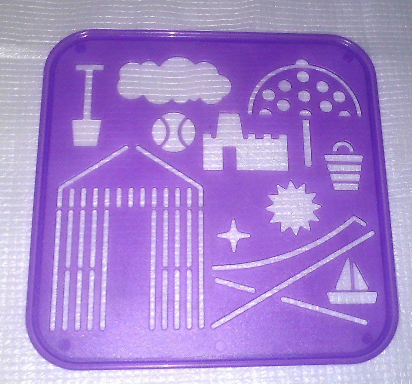 Tupperware Stencil Art Replacement Beach Theme Purple #2397