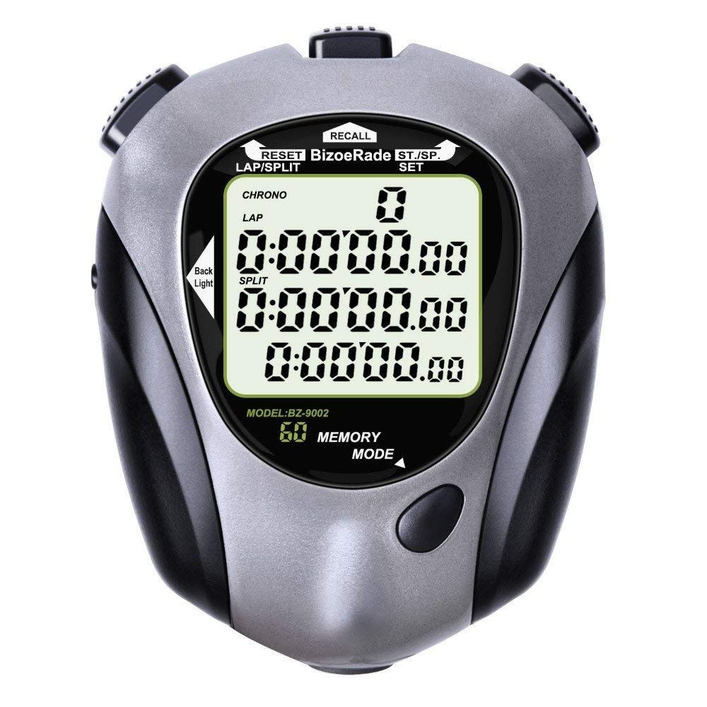 Digital Professional Stopwatch Timer Three Row Display Athletics Racing Stopwatches With 100 Lap Memory Split Time For Sports Coaches and Referees