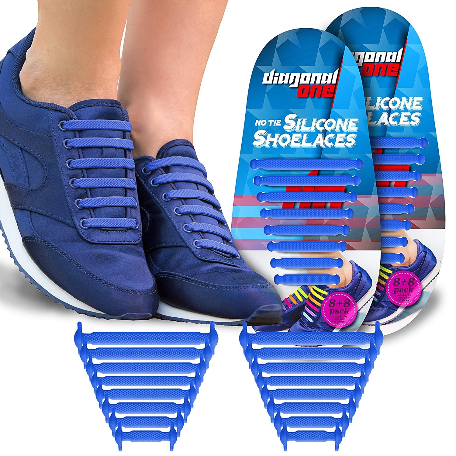 25c76972c1 Diagonal One No Tie Shoelaces for Kids   Adults. The Elastic ...
