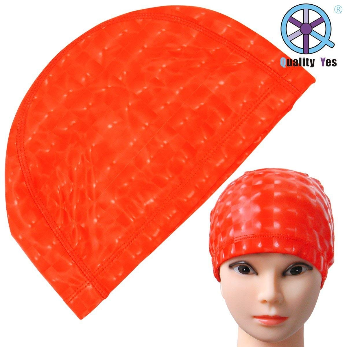 4bda918f13a Quality Yes Red Extra Large Waterproof Soft Cloth Swim Cap Ear ...