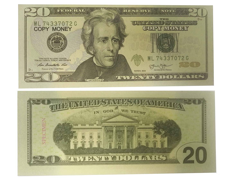 AL'IVER COPY MONEY 20 dollar PROP MONEY FAKE MONEY Realistic Double Sided  Money Stack 100 $20 Bills FULL PRINT FAKE BILLS T0