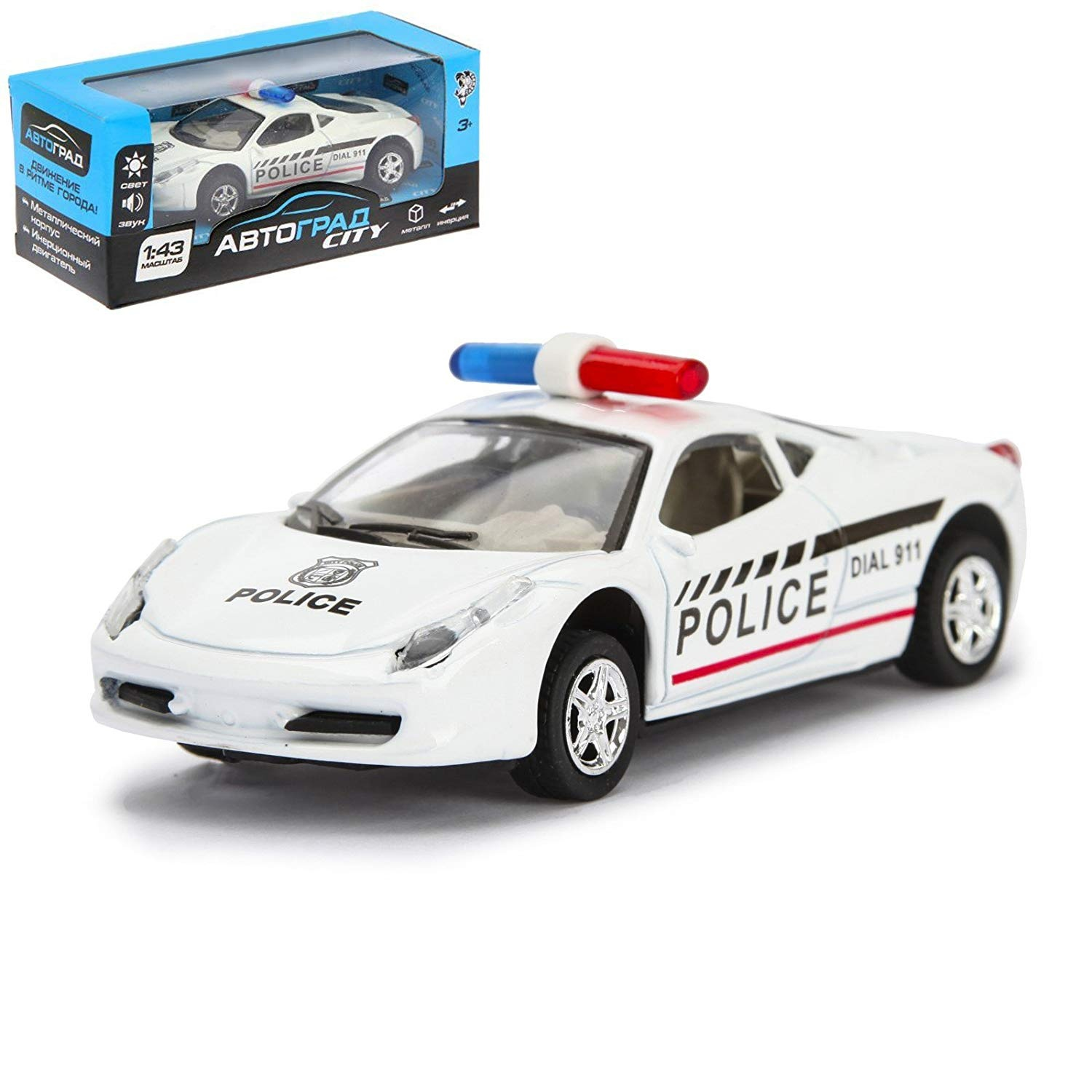 Autograd 911 Police Toy Car Sound Light Effects Friction Powered 1