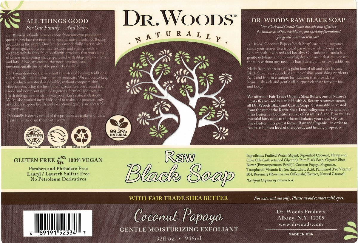 Dr  Woods Raw Black Coconut Papaya Soap with Organic Shea Butter and Pump,  950ml