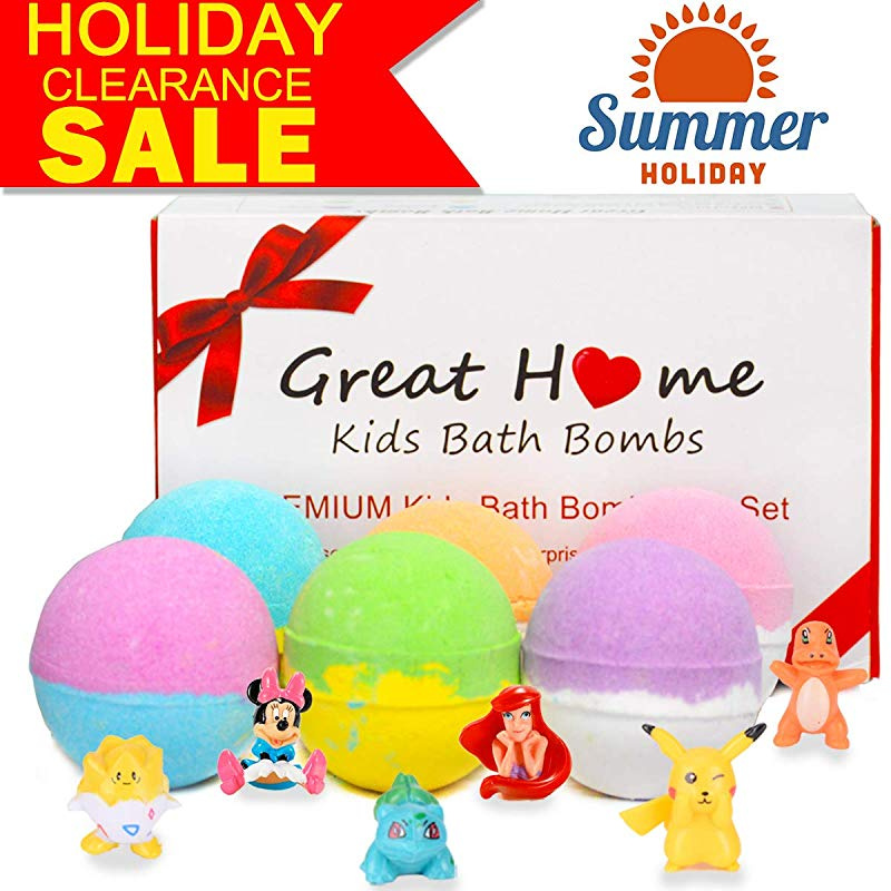 1621e6911d43 Easter Eggs Bath Bombs with Surprise Toys Inside for Kids 6 XL Bubble Bath  Fizzies Bombs Gift Set Safe Ingredients that Don't Stain the Tub Organic ...