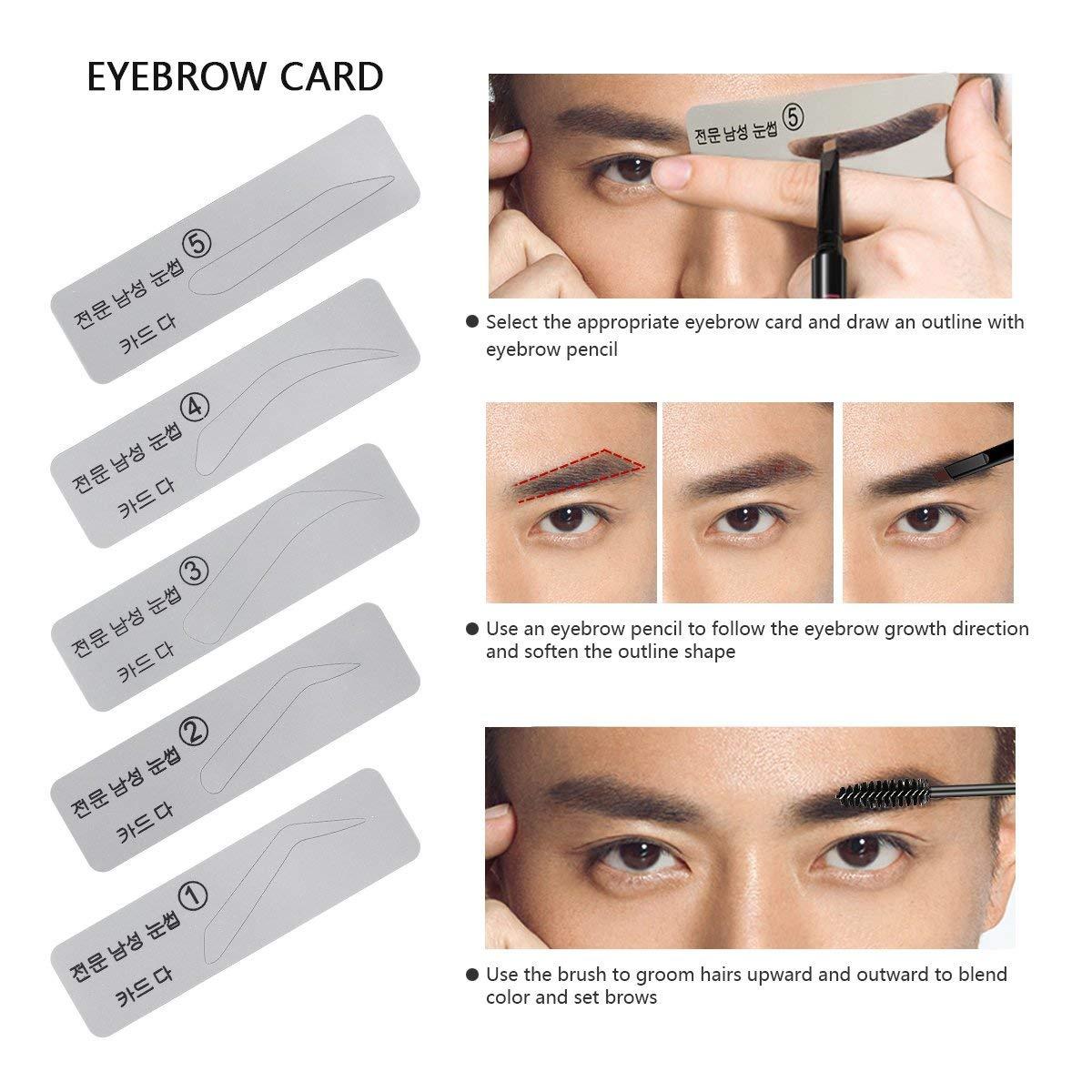29ba2c2dec00 Eyebrow Kit Razor Pencil Brush Stencil Scissors Tweezers Eyebrow Kit with  Mirror for Men and Women