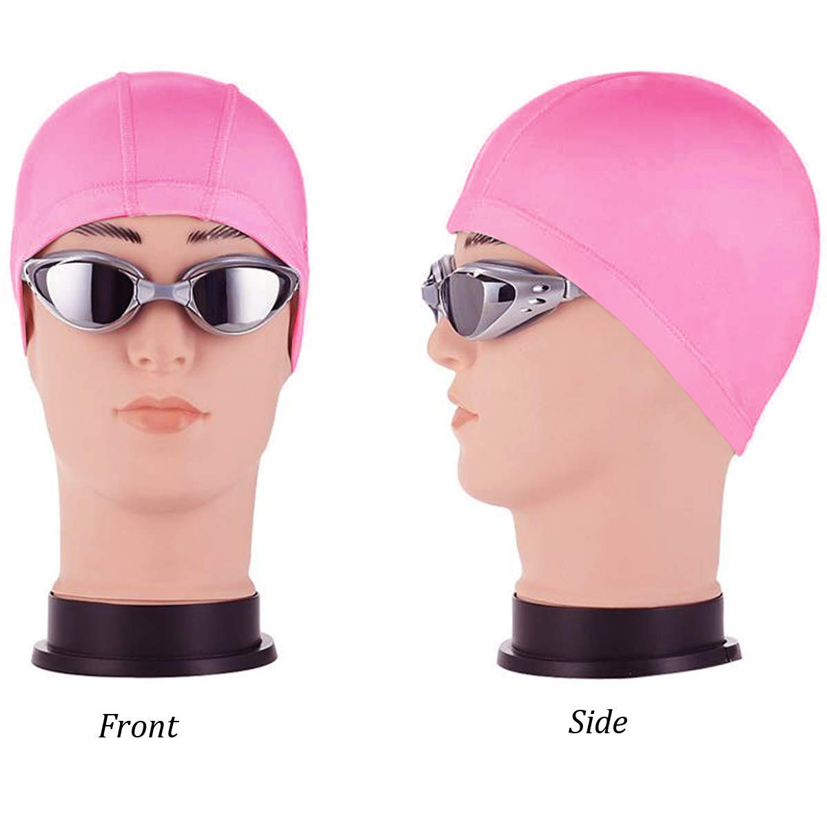 94fb6232d07 Swim Caps Quality Yes Pink Extra Large Waterproof Soft Cloth Swim Cap Ear  Protection Swimming Cap ...