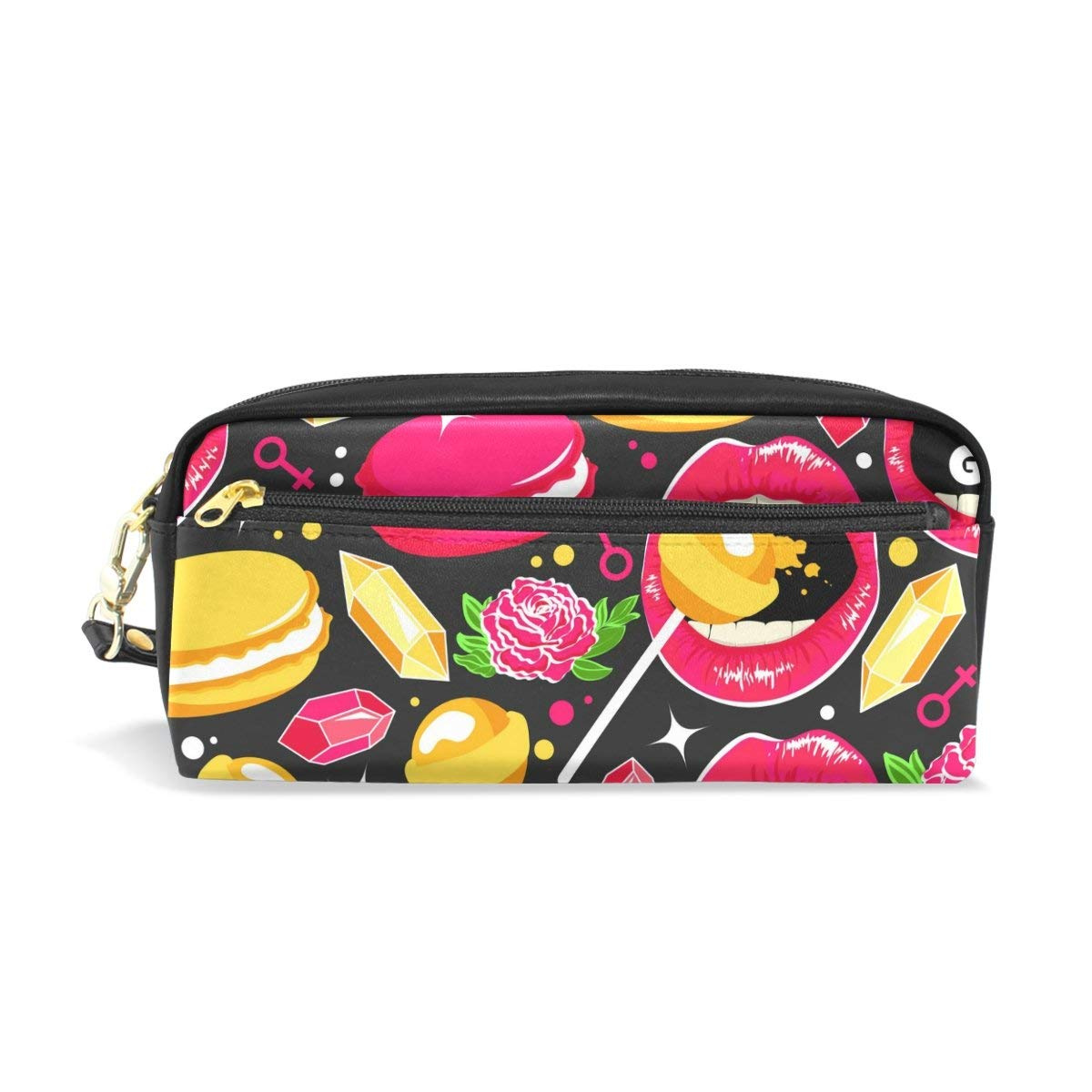 5f3c0974ef82 Vantaso PU Leather Pencil Case Bag Love Pink Lips Lolly with Cakes ...