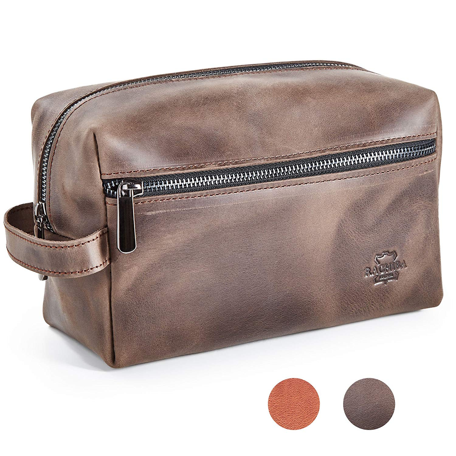 02bf3e1019 Leather Toiletry Bag Dopp Kit by Rachiba - Mens Leather Toiletry Bag ...