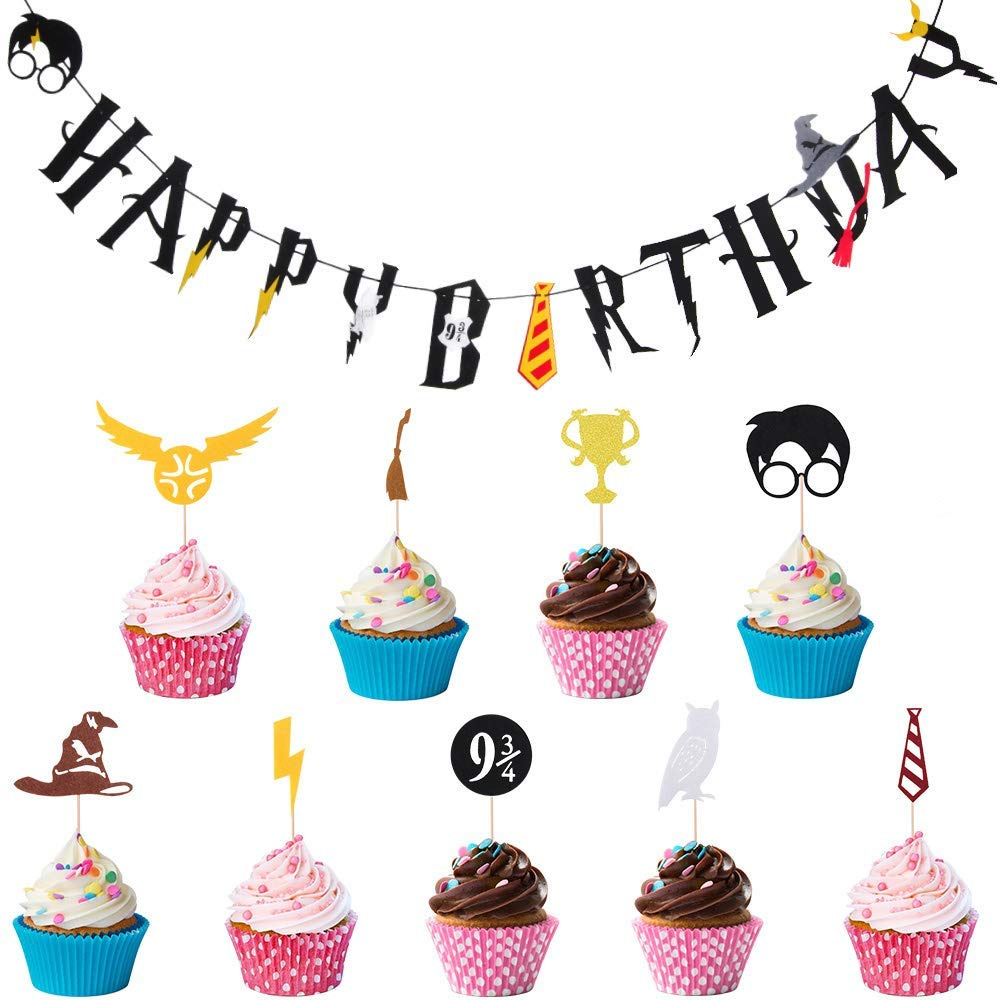 Party Supplies Set Harry Potter Birthday Favours Banner Cake Topper Hogwarts Decorations 20pcs Toppers And 1pc By RePind