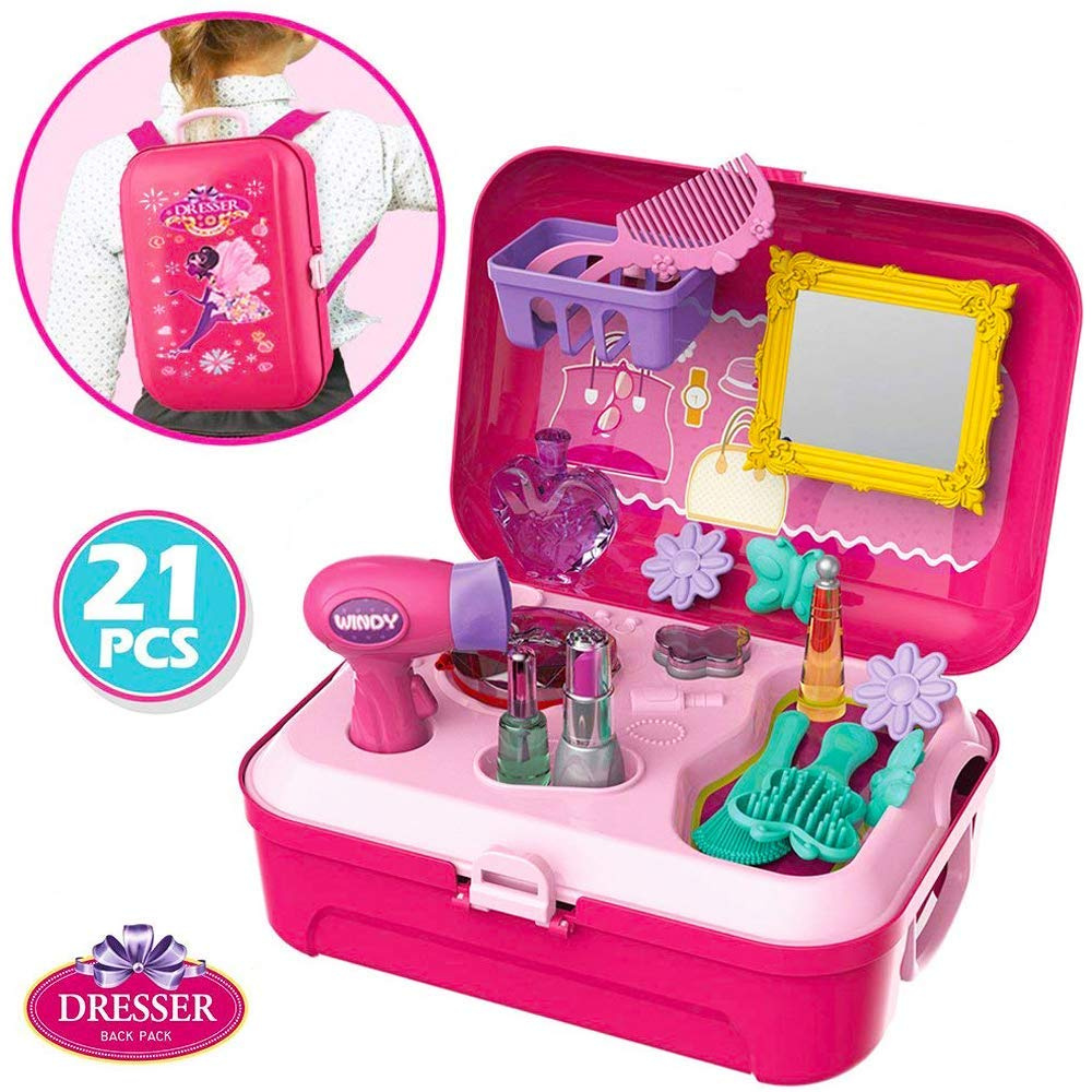 Little Girls Play Makeup Set Pretend Salon Beauty Makeup Kit For