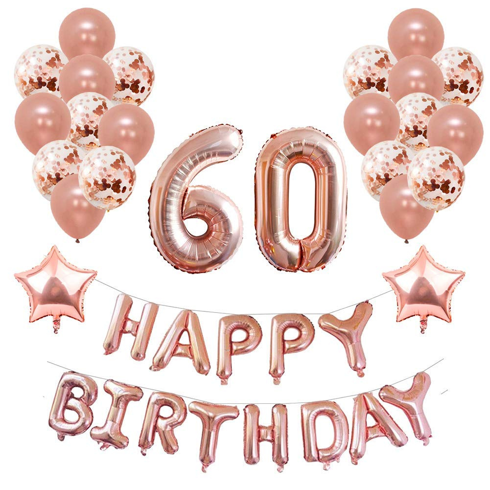 Yoart 60th Birthday Decorations Rose Gold For Women And Girl Party