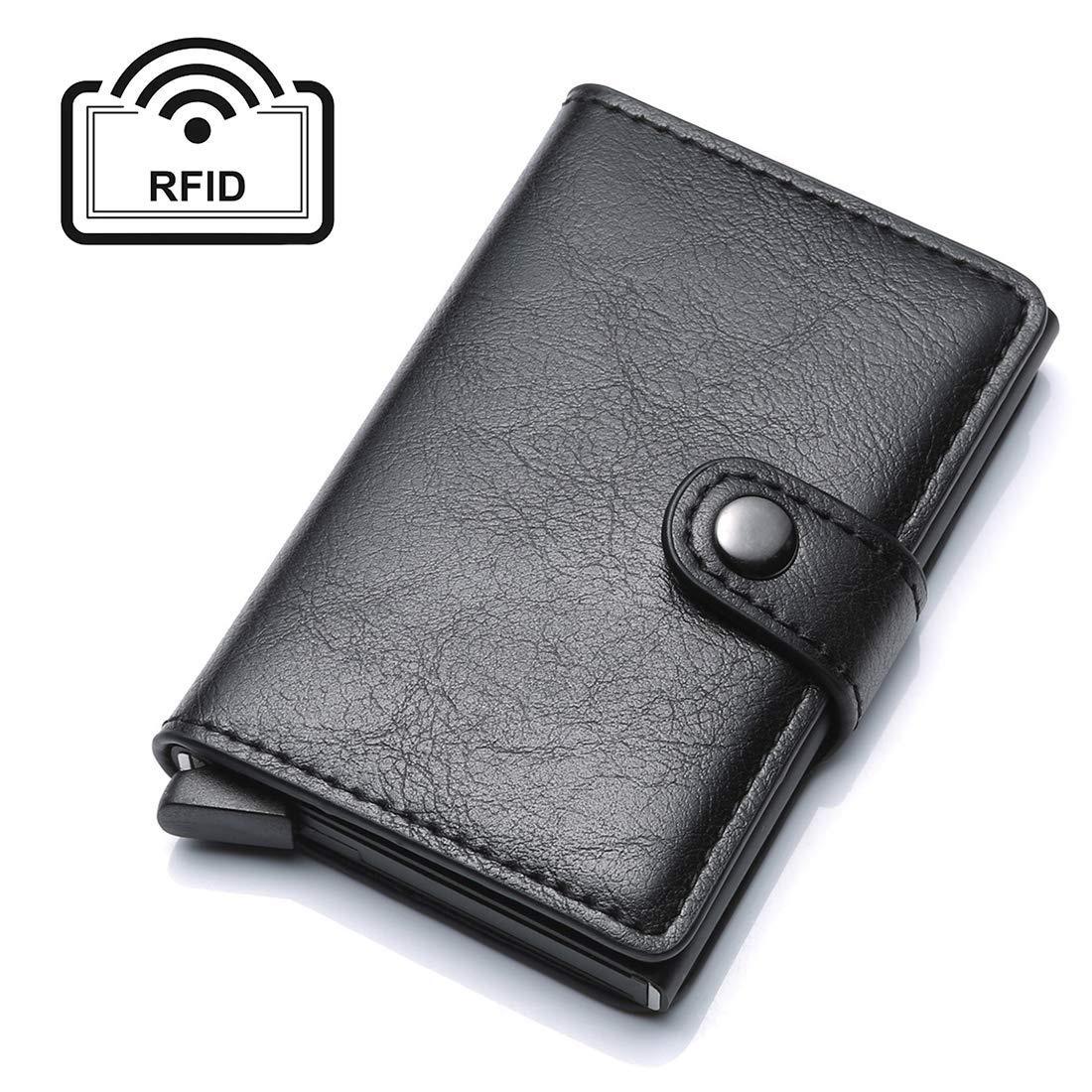 4e4da755b033 UNYU Credit Card Holder RFID Blocking Wallet Slim Wallet Genuine Leather  Vintage Aluminium Business Card Holder Automatic Pop-up Card Case Wallet ...