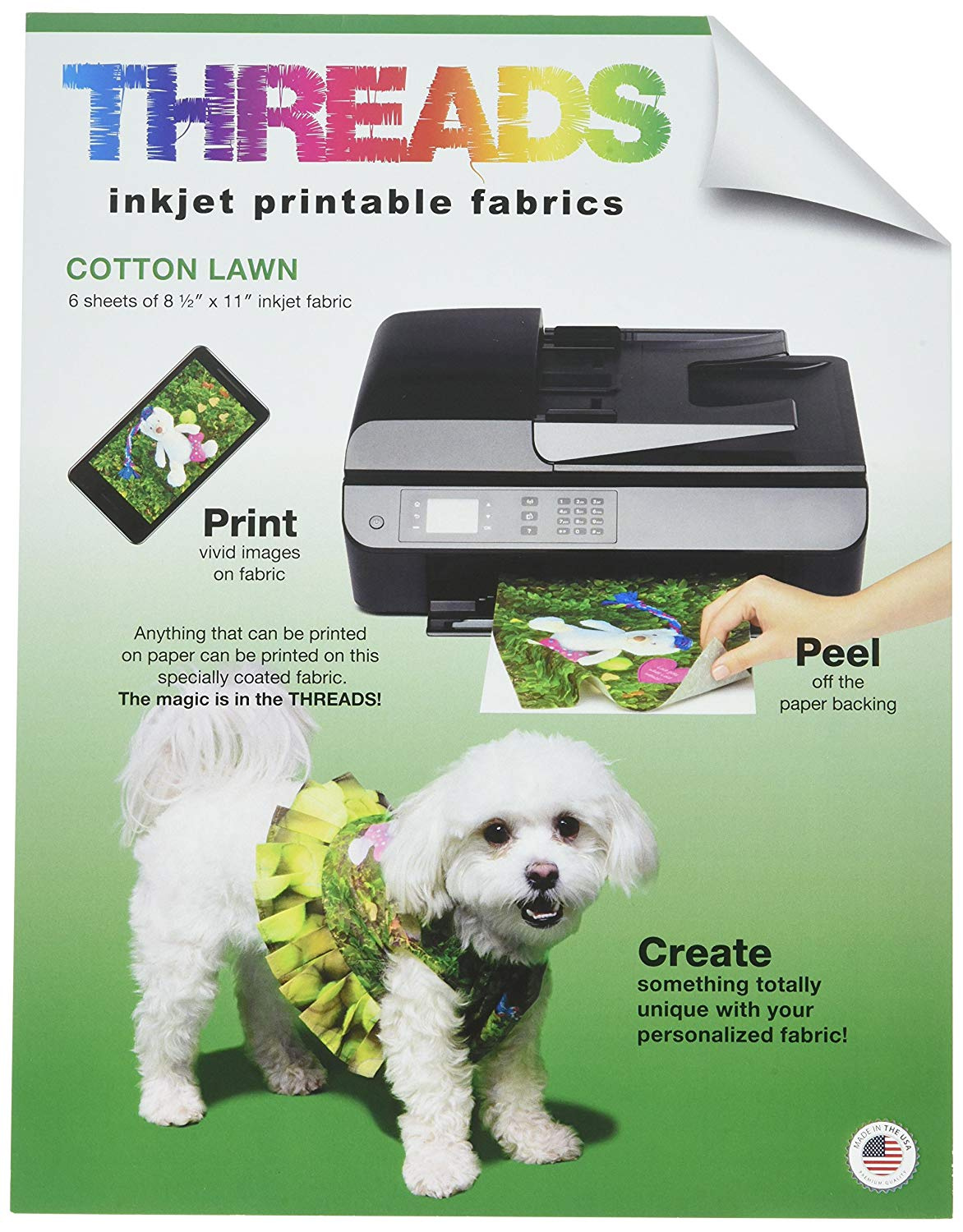 photo regarding Printable Fabric Sheets for Inkjet Printers referred to as Threads TXIT100620 Inkjet Printable Cloth Sheets, 22cm x 28cm 6/Pkg