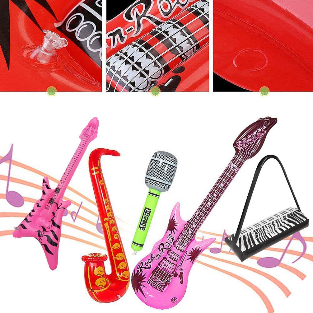 Random Color Inflatable Toy Guitar Microphone Kids Children Party Accessories