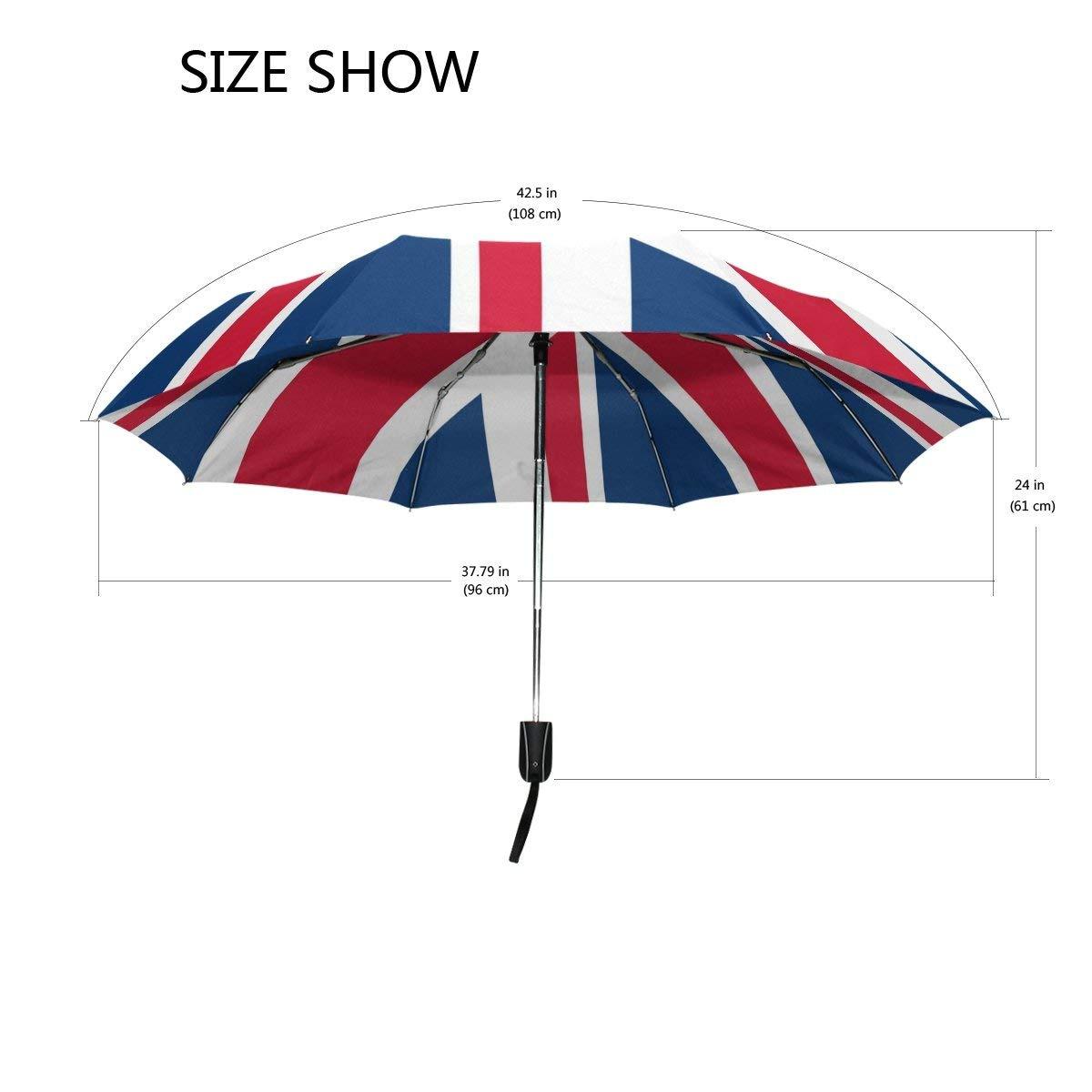 cb1ff5585610 WOZO Retro Union Jack British Flag 3 Folds Auto Open Close Umbrella
