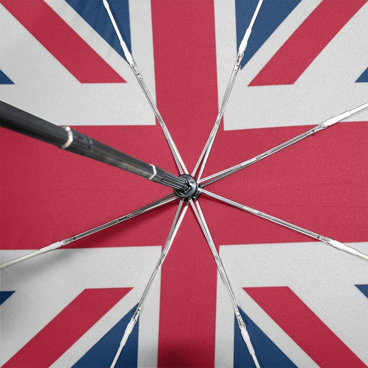 e2445b29ff23 WOZO Retro Union Jack British Flag 3 Folds Auto Open Close Umbrella