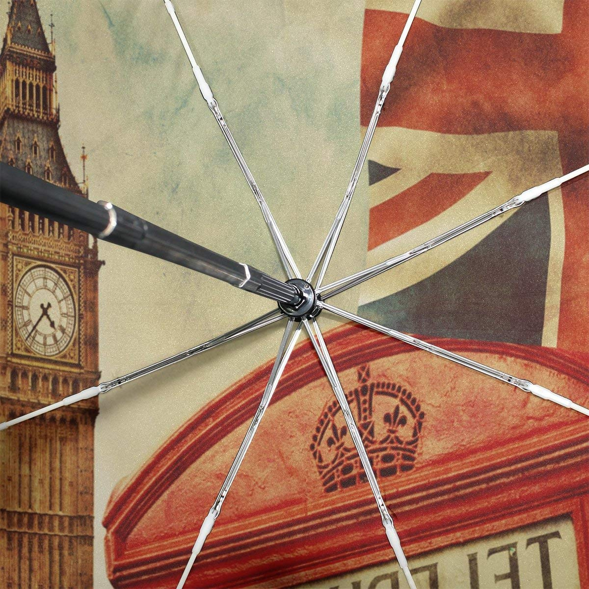 f4cfbfba4e29 WOZO Vintage Union Jack Big Ben 3 Folds Auto Open Close Umbrella