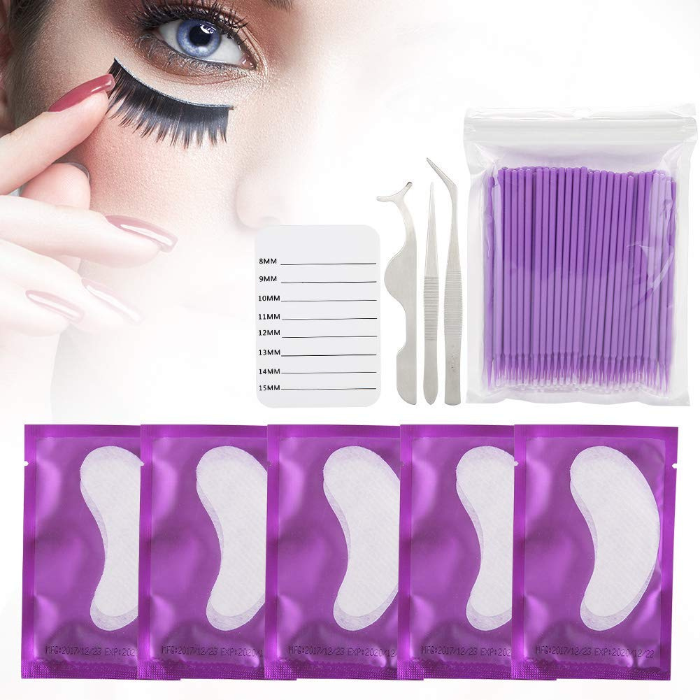 Eyelash Extension Training Accessory Kit, 5 Pairs Under Lint Free Lash  Extension Eye Gel Patches With Eyelash Holder Pallet and Brush and Tweezers  for