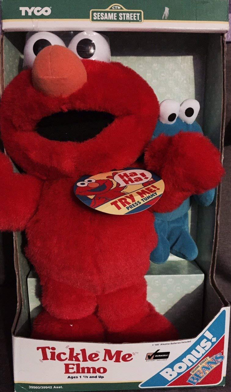 Tyco 1997 Sesame Street Tickle Me Elmo w/ Bonus Mini Cookie Monster Bean