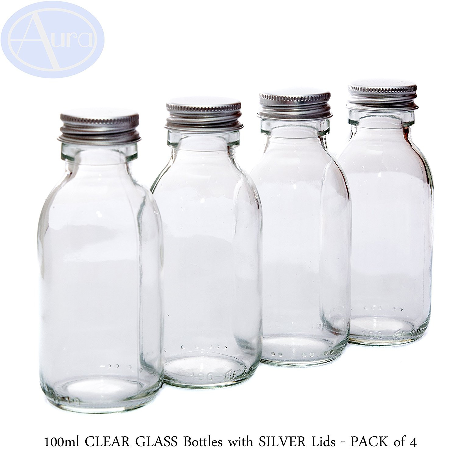 2d6a59201181 PACK of 4 - 100ml CLEAR GLASS Bottles with Pretty SILVER Lids. Perfect for  Skincare, Herbs & Spices etc