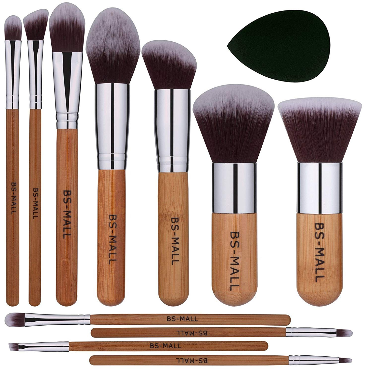 a08060b39af9 BS Mall bamboo Silver Premium Synthetic Kabuki Makeup Brush Set Cosmetics  Foundation Blending Blush Face Powder Brush Makeup Brush Kit with Black  Tear ...
